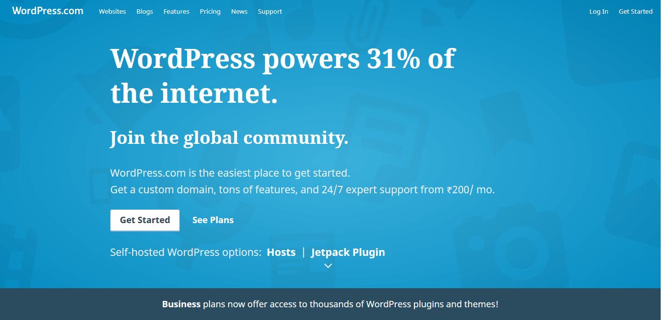 WordPress.com Homepage Screenshot